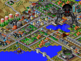 Hier wordt de stad aangevallen door een monster, dit kun je zelf instellen trouwens.