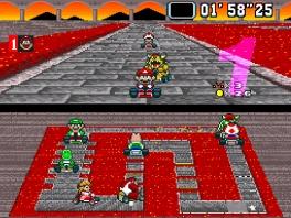 Zelfs in zijn eigen kasteel weet Bowser Mario niet in te halen...