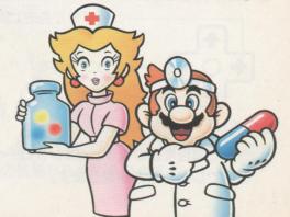 Dr. Mario en zuster Peach zijn helemaal klaar om aan hun werkdag in het ziekenhuis te beginnen.