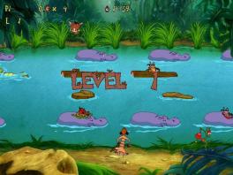 Hier moet je met Timon via de Hippo's naar de overkant zien te komen.