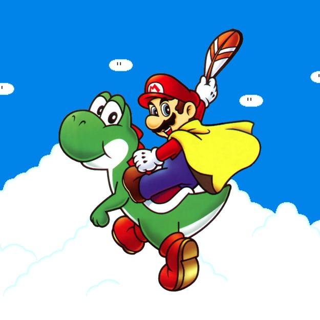 Mario en Yoshi op de Super NES